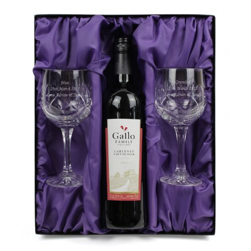 Personalised Red Wine & Pair of Crystal Wine Glasses